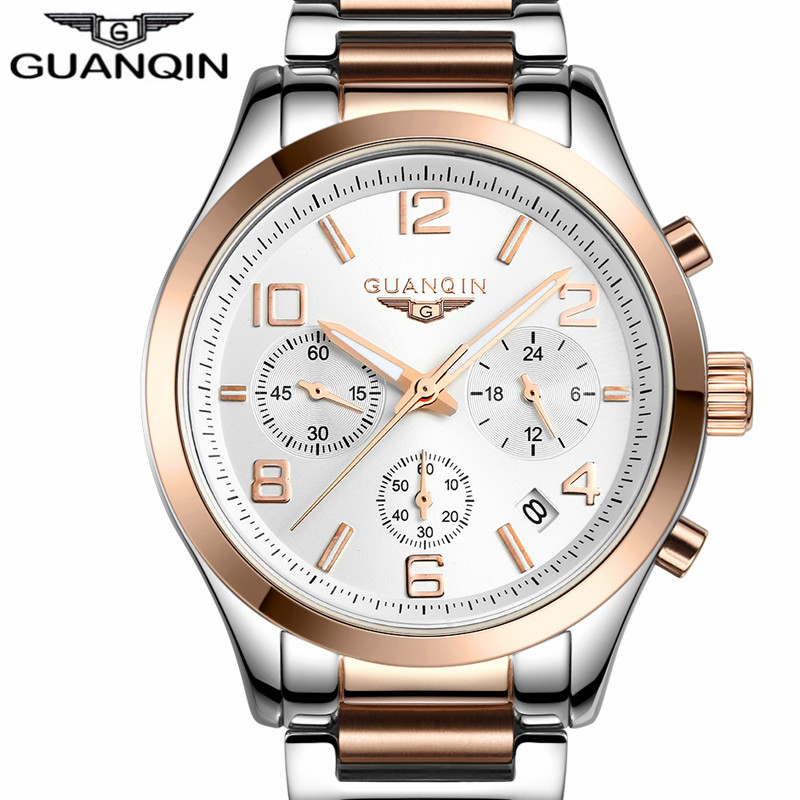 relogio masculino GUANQIN Watch Men Business Chronograph Date Luminous Wristwatch Mens Luxury Brand Stainless Steel Quartz Watch(China (Mainland))