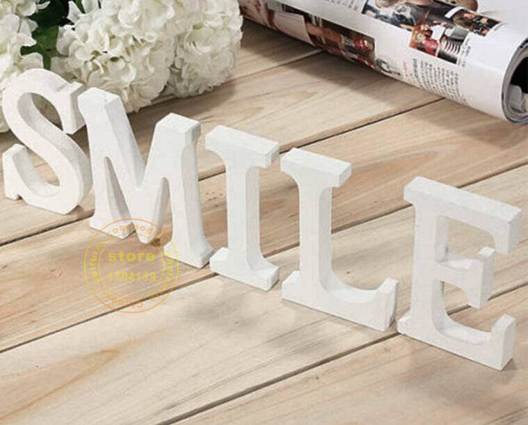 10cm wedding Artificial wood letters pure white wooden letters ZAKKA letters Home decoration Birthday wedding decoration Gift(China (Mainland))