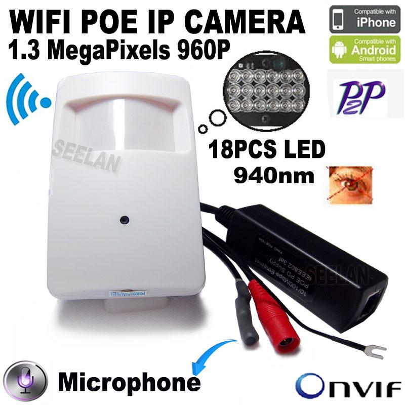 960P Wireless PIR POE Wifi IP Camera Audio Camera Mini Wifi 940nm Led Ir Ip Camera With IR Cut Cctv Camera Night Vision HI3518E(China (Mainland))