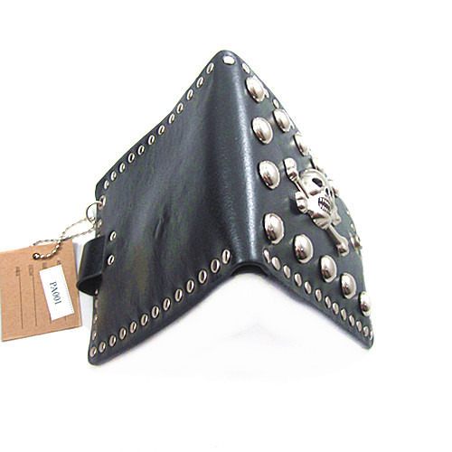 QB009 Promotion punk rock vintage Skull retro Genuine leather men wallets purse short fold wallets