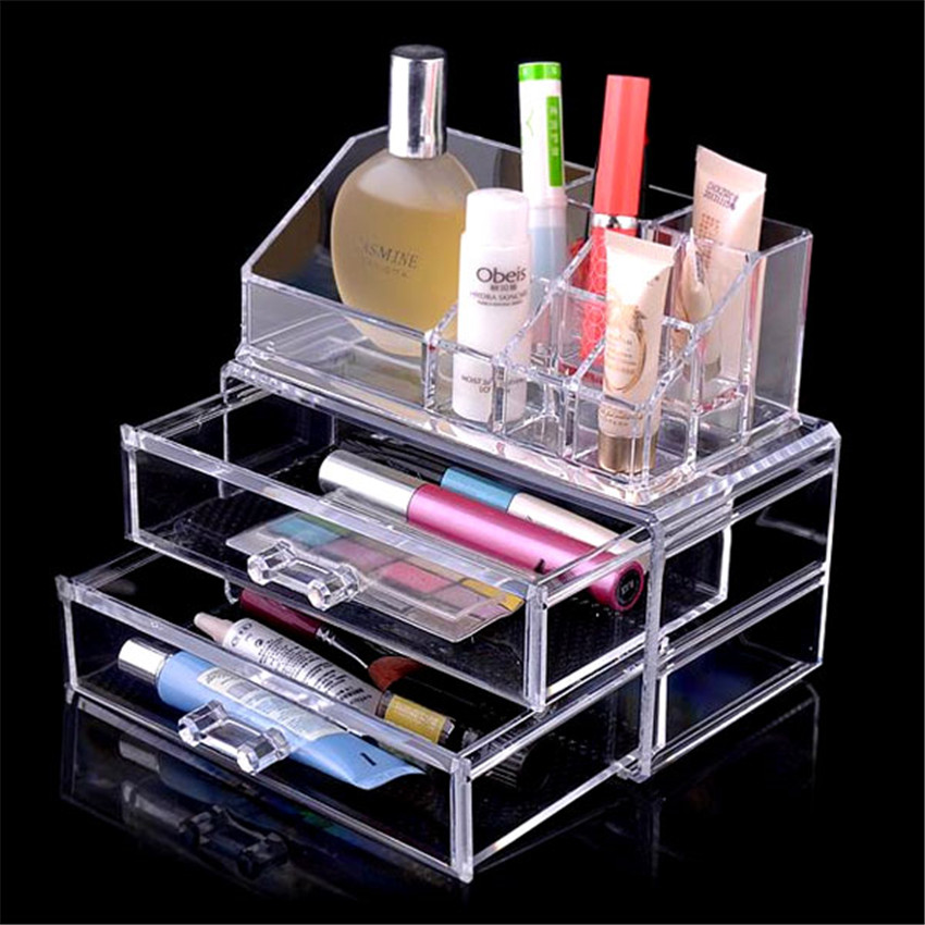 Clear Acrylic Cosmetic Makeup Organizer With Two Drawers