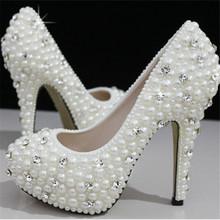 Europäischen und amerikanischen Frauen Luxus Perle Kristall Diamant-Hochzeit Schuhe/wasserdichte Brautschuhe und hochhackigen Kleid Schuhe(China (Mainland))