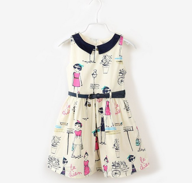 Baby Girls Lady Style Dress Toddlers Sleeveless Cartoon Character Print Dresses Infant Girls Casual Dress Urban Leisure Dress(China (Mainland))