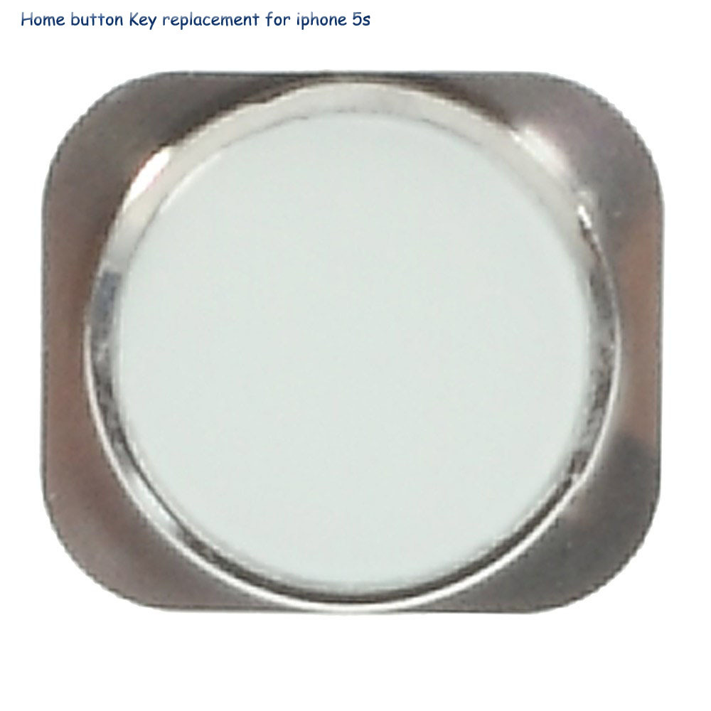 Hot sale Keyboard Home Button Replacement with metal ring for iPhone 5s - White / Silver