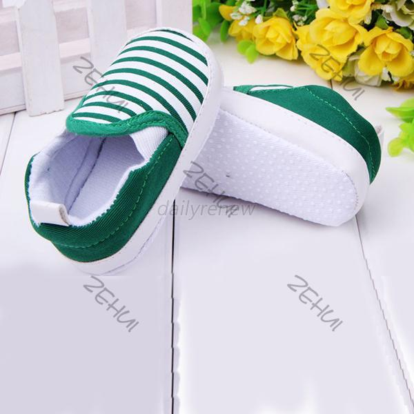 Baby Boy First Walkers Fashion Striped Canvas Baby Shoes First Walker Prewalker