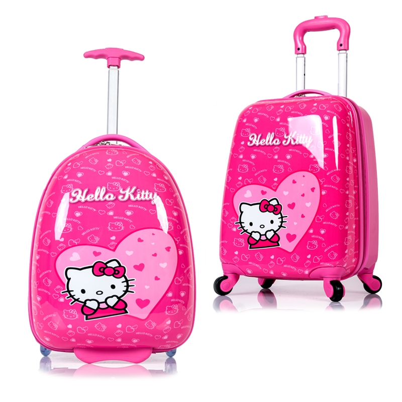 HOT anime girl luggage child rolling suitcase hello kitty cartoon 16/18 inch students Travel trolley case children Boarding box(China (Mainland))