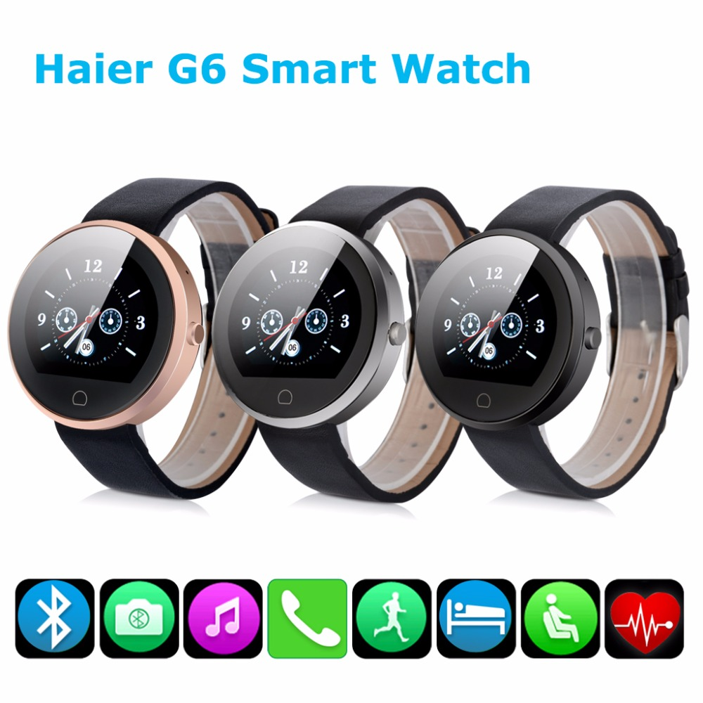 2016 Haier G6 Bluetooth 4.0 IP67 Smartwatch Heart Rate Monitor Smart Watch Fitness Tracker Sync SMS Email Watch for Android(China (Mainland))