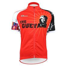 Men Short Sleeve Cycling Jersey Che Guevara Full Zipper Bike / Bicycle Outdoor Shirt Red Cycling Clothing Size XXS-5XL