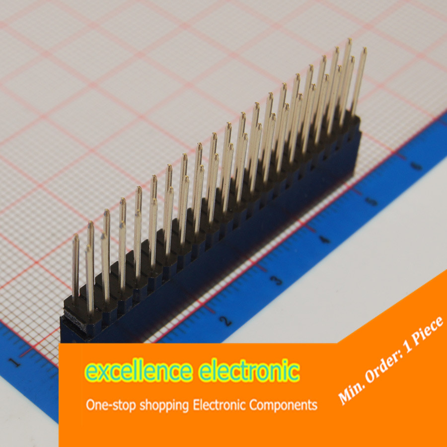 Гаджет  1pcs 2x20Pin 20 Pins 2.54mm Double offer Long legs Female Pin Header  None Электронные компоненты и материалы