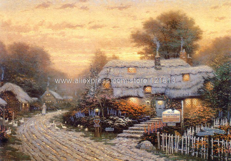 Thomas kinkade prints of oil painting Olde porterfield tea room Landscape painting modern wall painting office Home decor(China (Mainland))