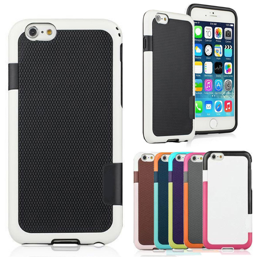 """Candy Double Color Matte ARMOR Soft TPU Hybrid Back Case For Apple iphone 6 6S 4.7"""" Shockproof Mobile Phone Bag Capa Para Cover(China (Mainland))"""