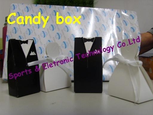 Tuxedo dress wedding favor candy box gift box 100pair for Wedding dress shipping box