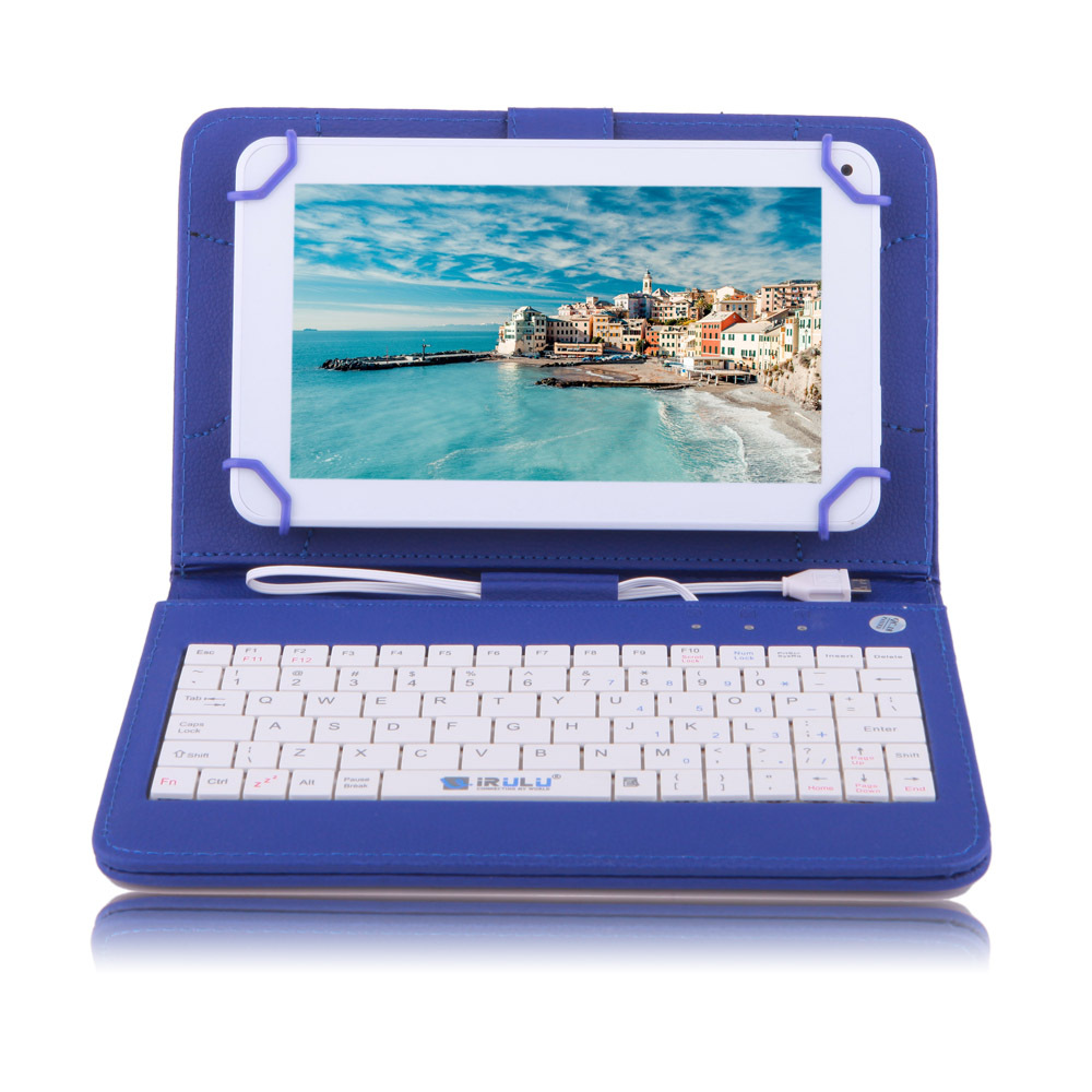 """IRULU eXpro X1c 7"""" Tablet Android Allwinner 8GB 7 inch Quad Core Cheap Internet Tablet White w/ Blue Keyboard Case 2015 Newest(China (Mainland))"""