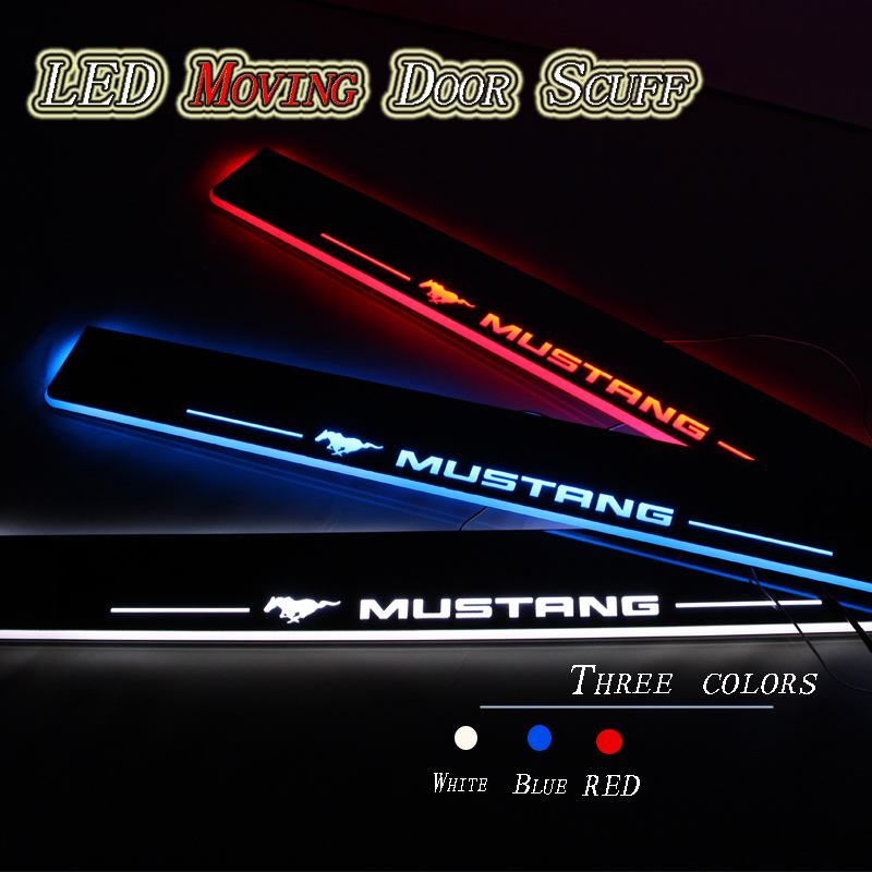 Styling for the car Ford Mustang led doorway, scuff plates, Welcoming light pedal, the front door 2 pcs, Auto Accessories(China (Mainland))