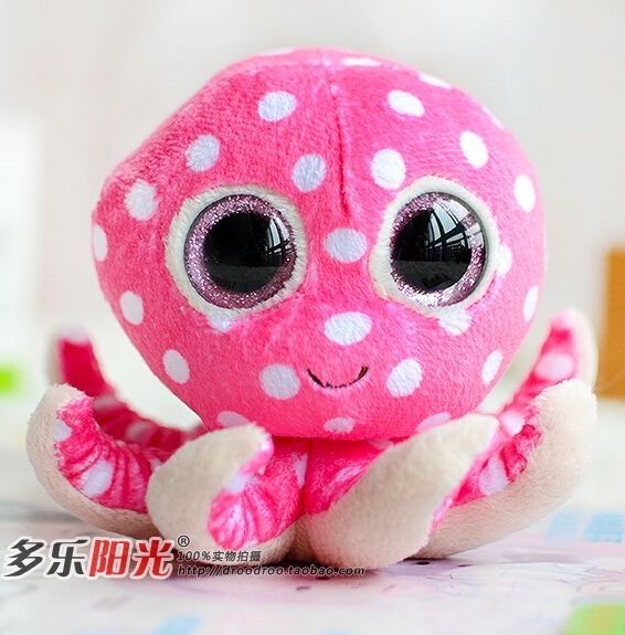 Baby gifts Plush Doll toys TY big eyes 2014 new Colorful Octopus one piece(China (Mainland))