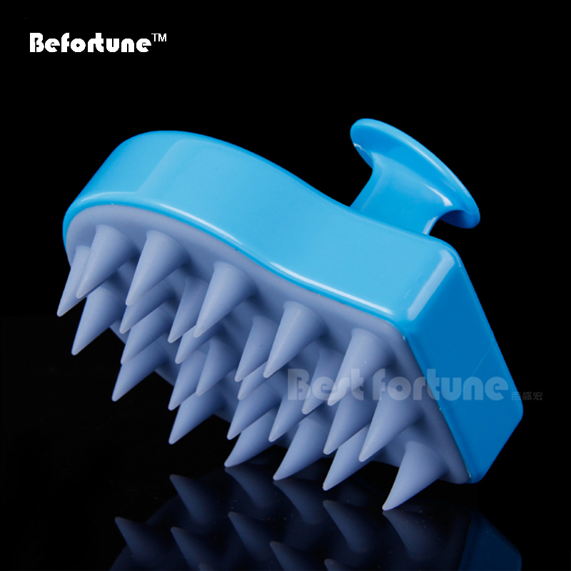 Anti Drandruff Silicon Anion Tourmaline Head Scalp Massager Shampoo Brush BF6001(China (Mainland))