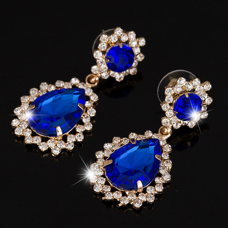 New Fashion 3 Color Gold Plated Long Earrings Big Rhinestone Water Drop Hanging Earring Pendant Female Ruby/Sapphire Jewelry(China (Mainland))