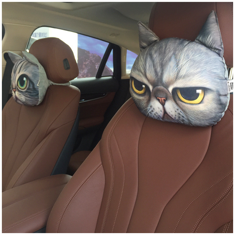 2015 New Hot (With Core+Activated Carbon)Car Headrest Cartoon Handsome Dog&Cat Nap Pillow Cushion And Pillow Waist Pillow YK728(China (Mainland))