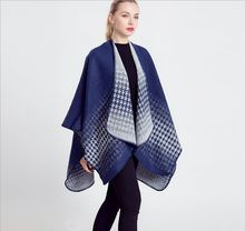 2015 New fashion thick tartan plaid cashmere poncho blanket scarf for women winter warm shawl wraps pashmina hot sale
