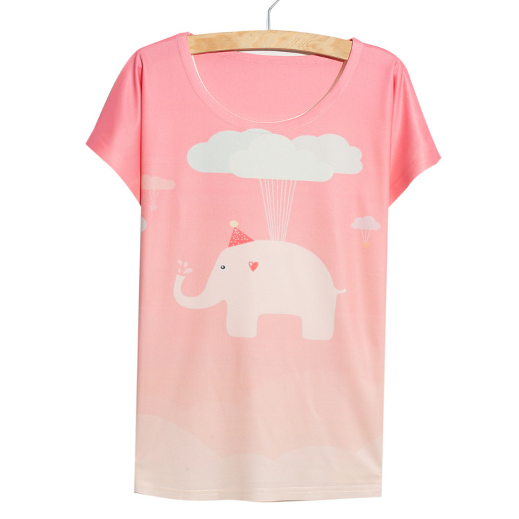 Cute animal print tshirt short batwing sleeve blouse cotton t-shirt women t shirt pink elephant printed tees casual fashion tops(China (Mainland))