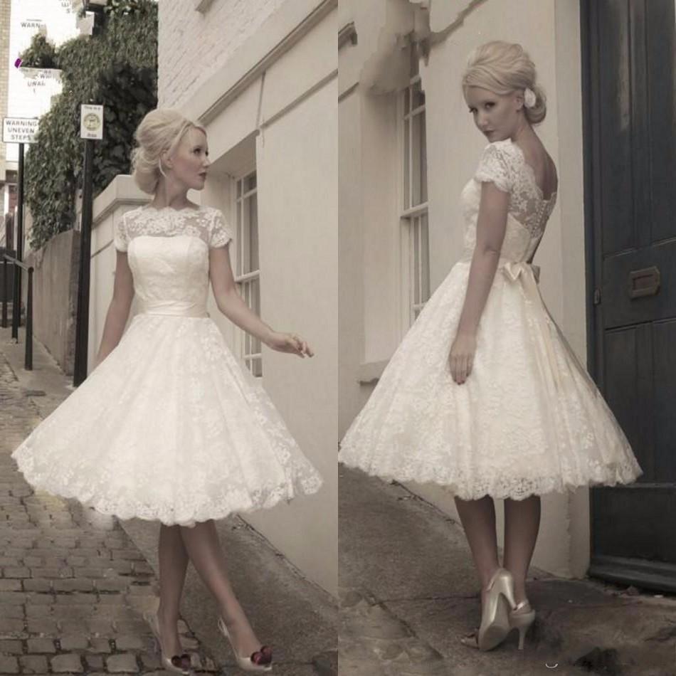 2016 Short Vintage Lace Wedding Dress Jewel Neck Ribbon Sash Knee Length A-Line Short Bridal Gowns Custom Russia Vestidos(China (Mainland))