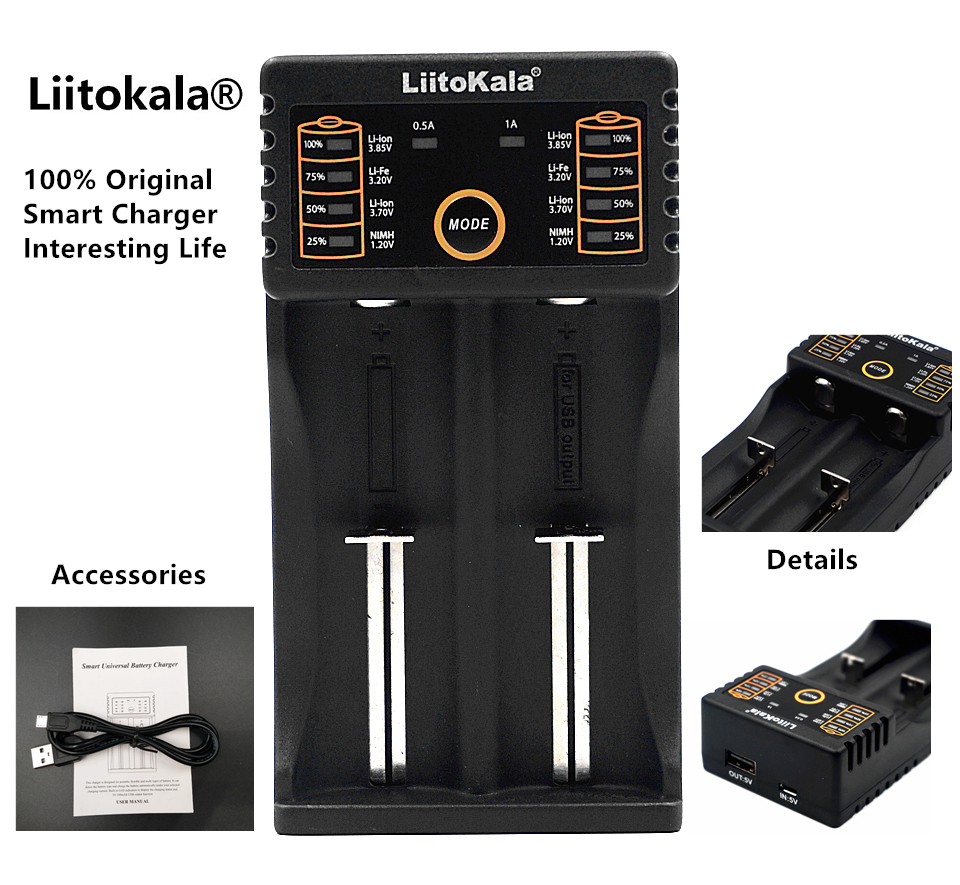 LiitoKala Lii-202 18650 Battery Charger Lii202 For 1.2V/3.7V/AA/AAA/18650/26650/14500/16340/17500/NiMH Rechargeable Batteries(China (Mainland))