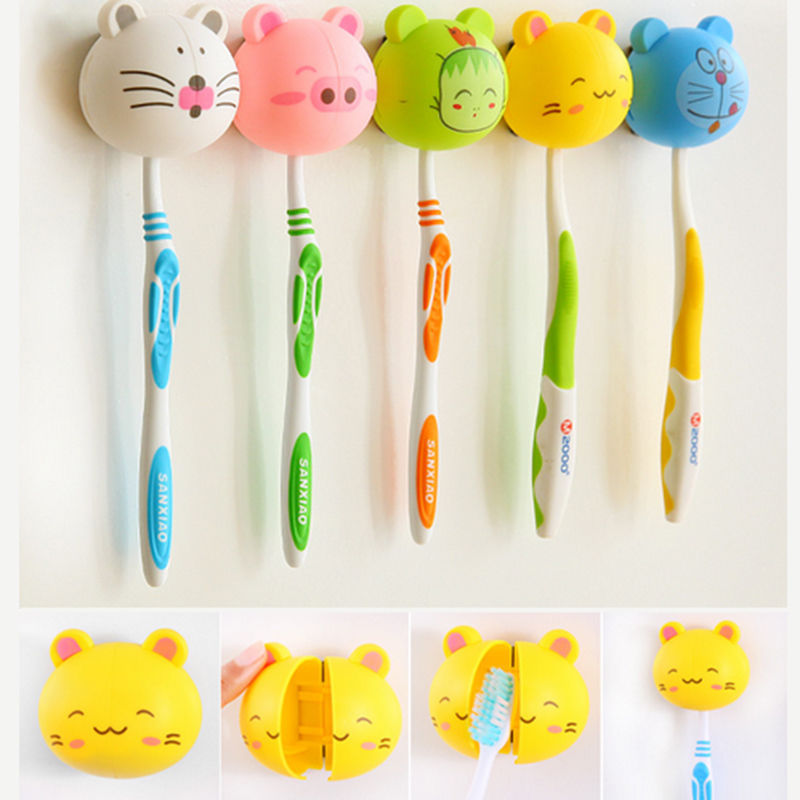3D Cartoon Toothbrush Holder Stand Mount Wall Suction Grip Rack Home Bathroom Christmas Gift(China (Mainland))