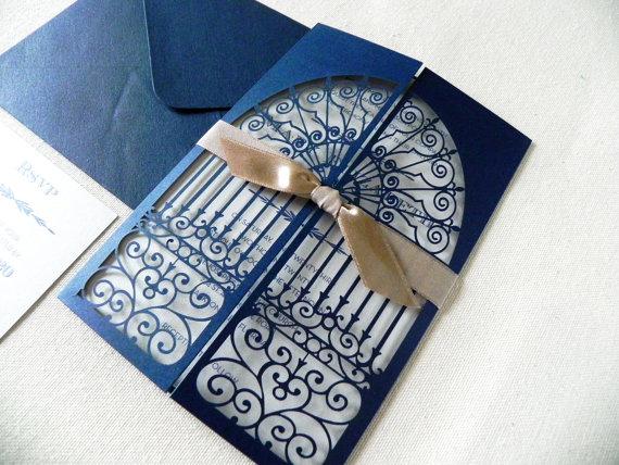 Navy Blue Art Deco Door Wedding Invitation Suite Vintage ...