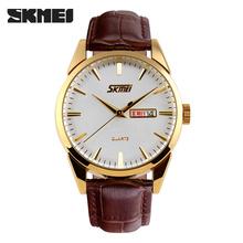 Skmei tendencia para hombre de impermeable comercial vendimia breve puntero calendario automático relojes de pulsera del deporte hombres correa de cuero relojes