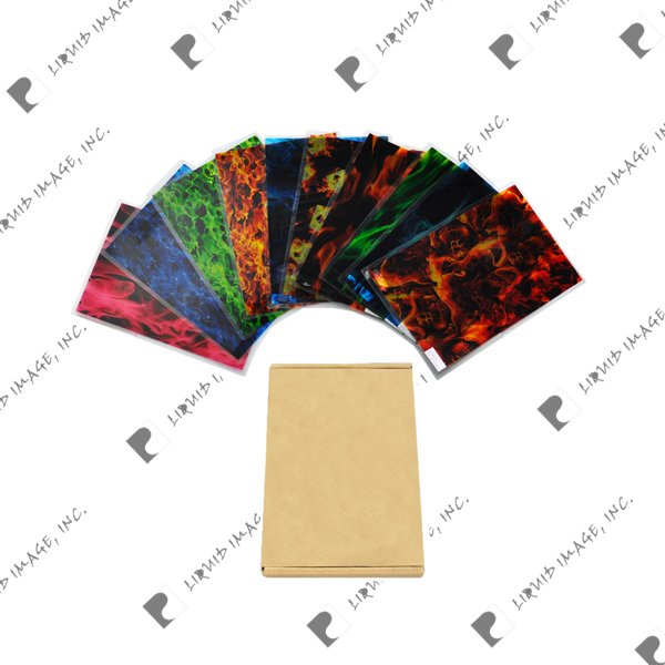 Exclusive flame 10 patterns pva water transfer printing activator A3 size wtp film hydrographics(China (Mainland))