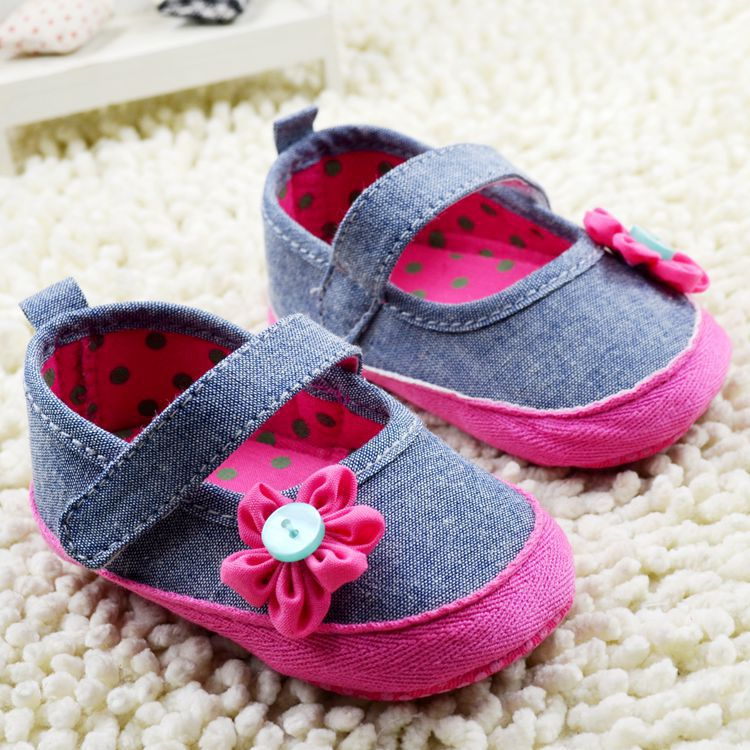 mothercare Denim jeans newborn baby girl shoes,hot pink floral baby moccasin canvas sapato infantil,for 0-18M(China (Mainland))
