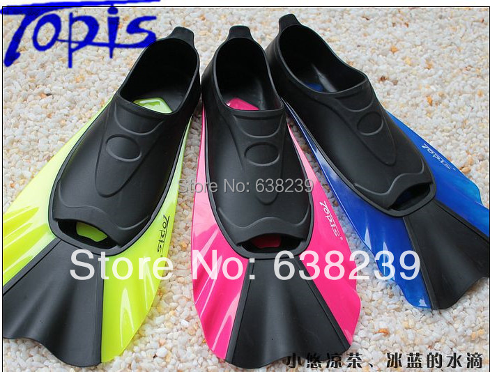 High Quality TOPIS Brand Snorkeling& Diving Fins Diving Equipment Swimming Short Fins Full Foot Pocket Full Heel Flippers(China (Mainland))