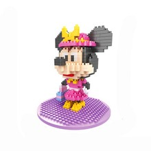 Shopping Minnie Mouse Model HSANHE Diamond Building Blocks Classic Cartoon Anime Toys Gift For Children Mini Assembled Bricks