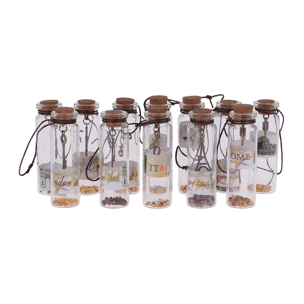 MagiDeal 12 шт. пустые стеклянные бутылки желаний Vilas баночки с пробкой для хранения MagiDeal 12Pcs Empty Glass Wish Bottles Vilas Jars with Cork for Message Storage Wedding Favors Decoration Gift