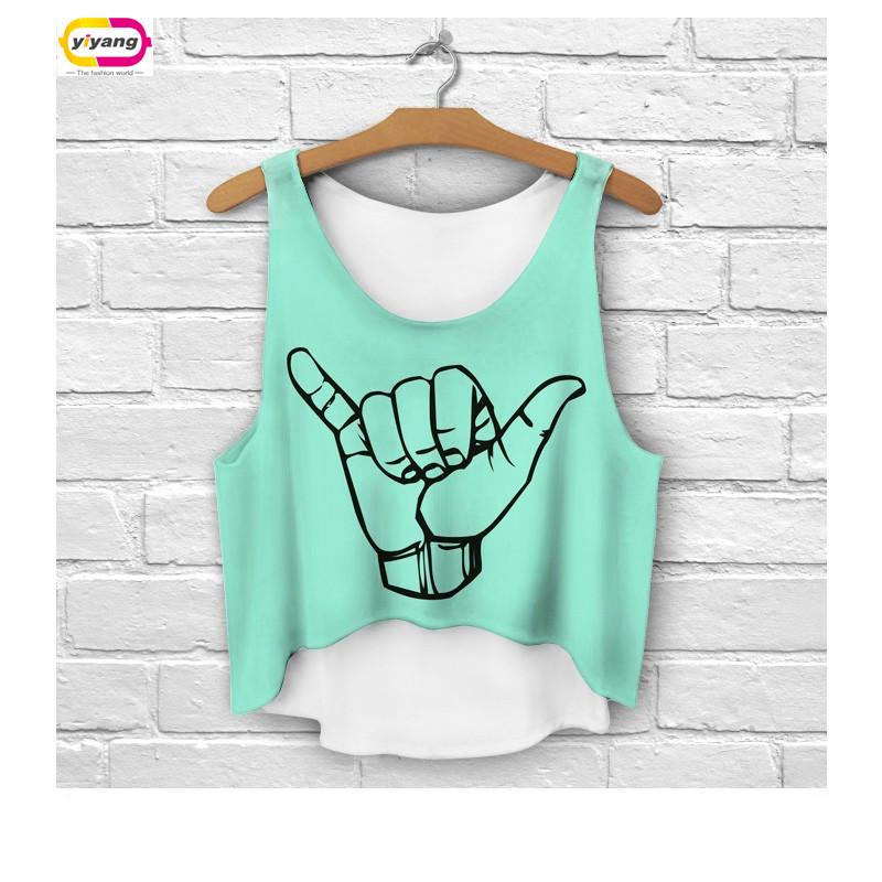2016 Multi Colors T-Shirts 3D Print women tank tops camis print camisoles & tanks girls short crop top tees irregular lh68(China (Mainland))