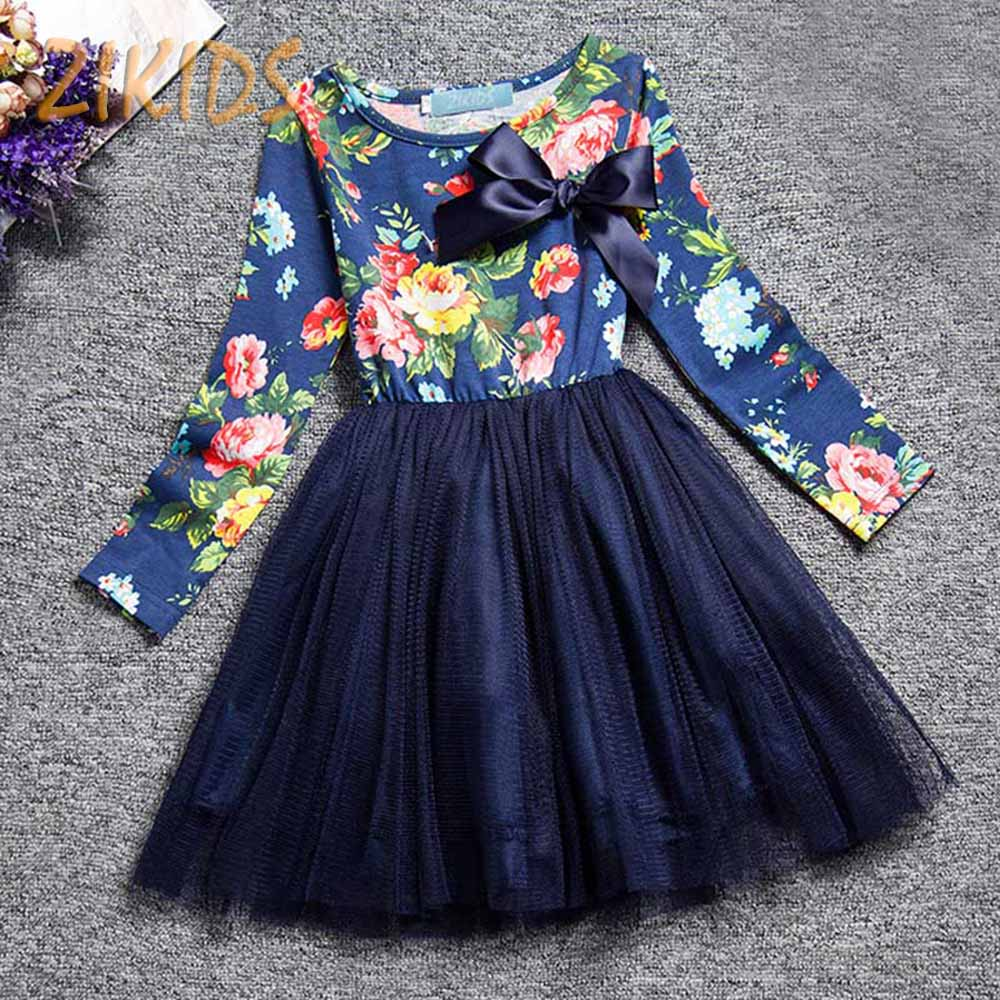 Korean Girl Dress Summer Style Flowers Print Princess Dresses Kids Clothes Long Sleeve Children Costume for Party 2016 New Brand(China (Mainland))