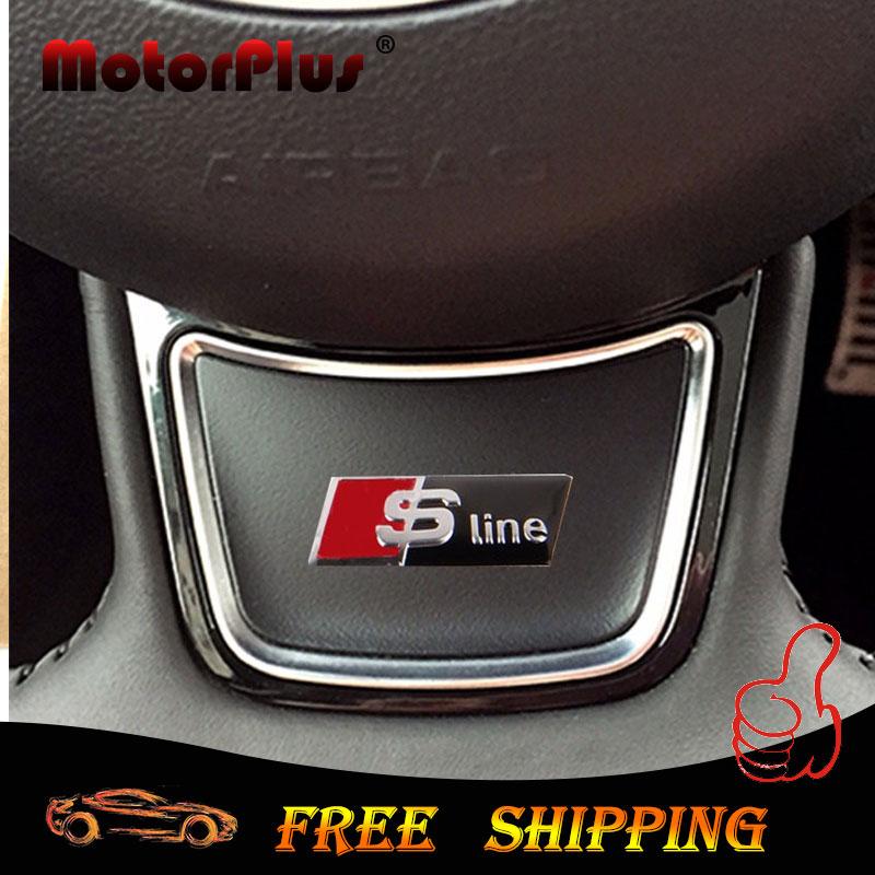 Aluminum Sline RS Emblem Badge 3D Sticker Car Styling Steering Wheel Window Accessories for Audi A1 A3 A4 A5 A6 A7 Q1 Q3 Q5 Q7(China (Mainland))