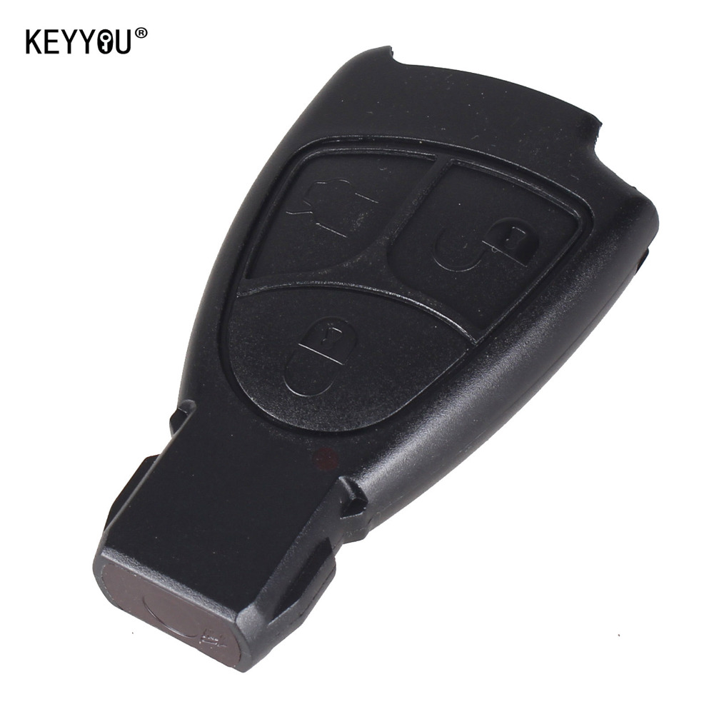 KEYYOU free shipping For Mercedes Benz car key replacements 3 buttons remote key case with logo Free Shipping(China (Mainland))