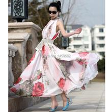 free shipping 2015 New Women Summer Lady Flower Pattern Sleeveless Chiffon Maxi Dress Flouncing Sundress Long Dresses