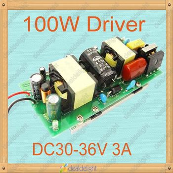 Freeshipping!100W Constant Current LED Driver AC100-250V to DC30-36V 3A for 100W High Power LED Light 10 Series by 10 Parrarel