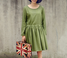 New Japanese Ethnic Mori Girl Forest Lolita Kawaii Cotton Linen Preppy Ladies Solid Bow O-Neck Vintage Basic Casual Dress Female