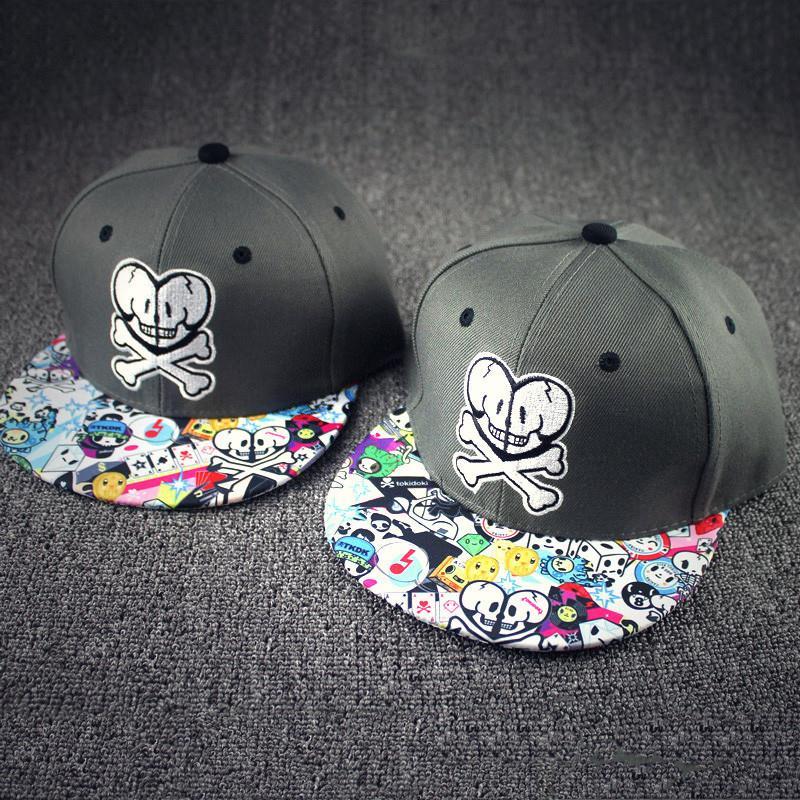 2015 ladies graffiti floral bone snapback summer casual casquette cartoon skull gorras hiphop baseball cap women men falt hat(China (Mainland))