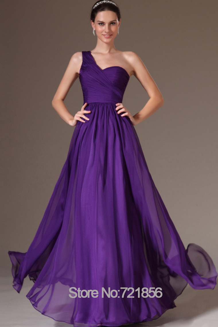 Purple bridesmaid dresses chiffon a line one shoulder for Purple maxi dresses for weddings