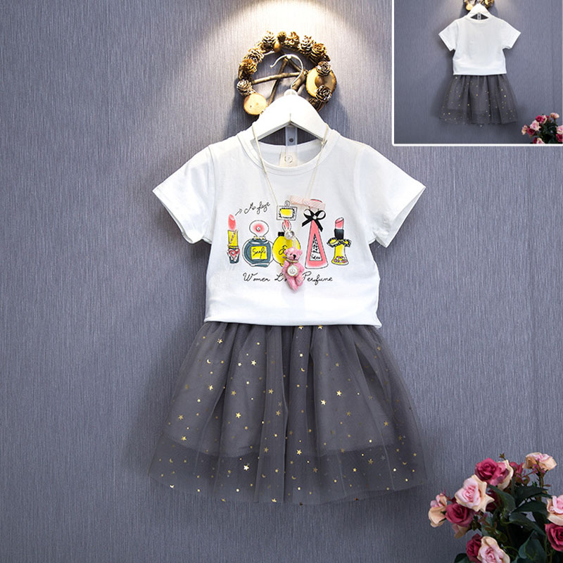 2016 summer fun little pattern perfume compositions girls T-shirt + lace skirt suit kids clothes(China (Mainland))