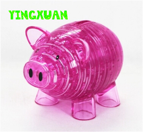 DIY 3D Jigsaw Crystal Puzzle Piggy Bank  Plastic Educational Toys For Children<br><br>Aliexpress