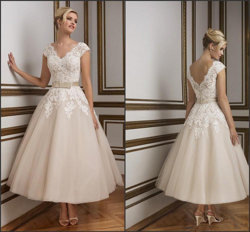 2016 champagne ankle length wedding dresses elegant v neck for Lace ankle length wedding dress