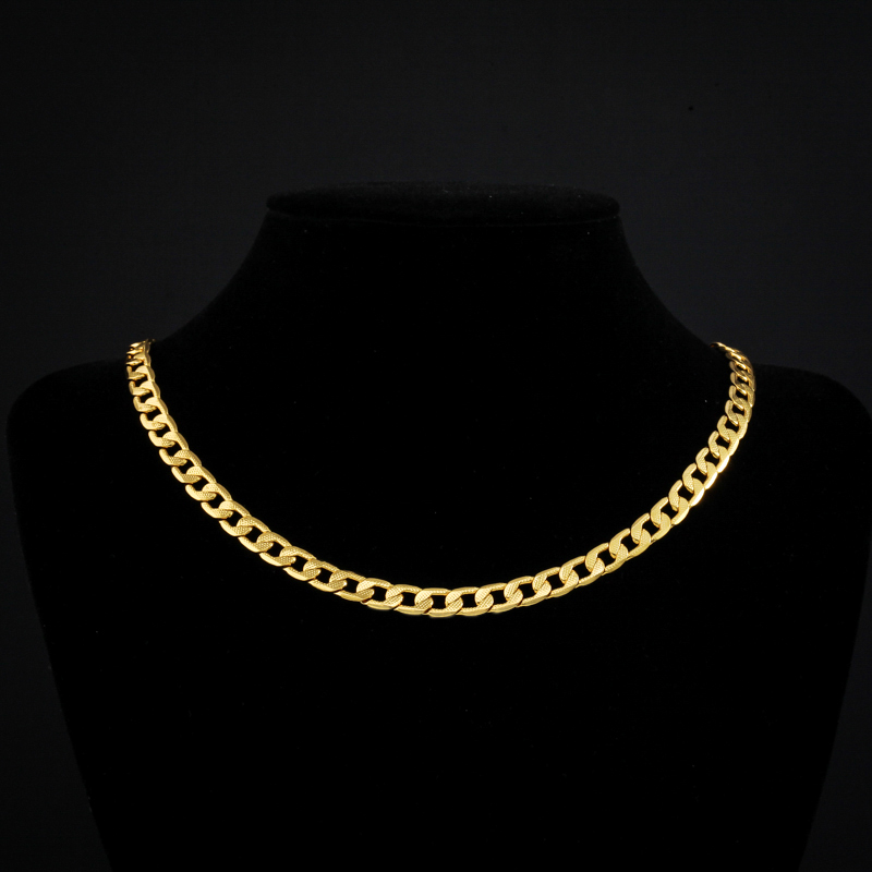 """18K Real Gold Plated Necklace With """"18K"""" Stamp Men Jewelry Wholesale Free Shipping New Trendy Chunky Snake Chain Necklace N307(China (Mainland))"""