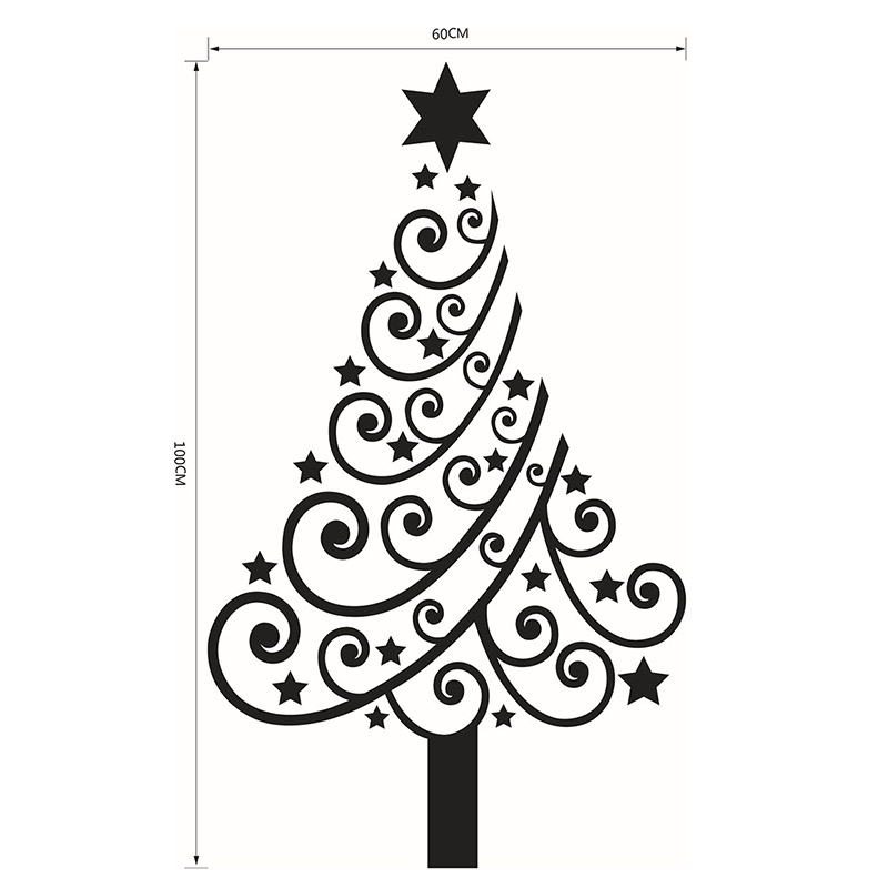 Christmas Tree Display Window Wall Stickers Removable Vinyl Wall Sticker Art Decal Poster Wall Decor Christmas Home Decoration(China (Mainland))