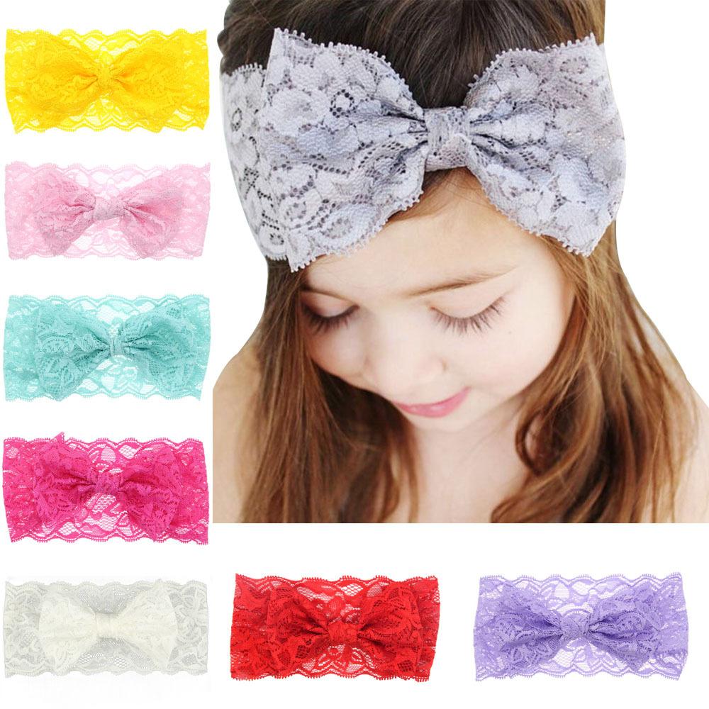 Wholesale Baby Hair Accessories Toddler Cute Girl Kids Bow Multicolor Hairband Turban Headband Headwear Lace Hairband(China (Mainland))