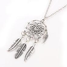Ancient Silver Plated Alloy Girl Chian necklaces For Women Vintage Korea Dream Catcher Leaves Pendant Necklace